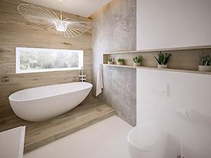 Akacjowa - Duża biała łazienka z oknem, styl nowoczesny - zdjęcie od ARCHIWYTWÓRNIA Tomek Pytel