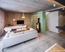 Śliwińskiego - Średni biały zielony salon, styl nowoczesny - zdjęcie od ARCHIWYTWÓRNIA Tomek Pytel