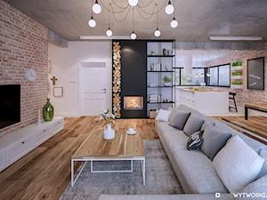 Piotra Skargi - Mały biały salon z kuchnią z jadalnią, styl skandynawski - zdjęcie od ARCHIWYTWÓRNIA Tomek Pytel