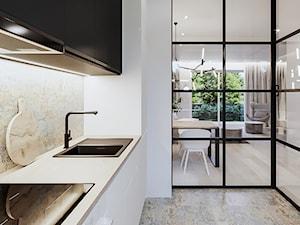 STARE ZŁOTNO - Średnia zamknięta biała kuchnia jednorzędowa z oknem, styl nowoczesny - zdjęcie od ARCHIWYTWÓRNIA Tomek Pytel