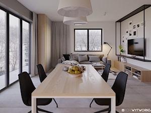 Kłosowa - Średnia otwarta biała szara jadalnia w salonie, styl nowoczesny - zdjęcie od ARCHIWYTWÓRNIA Tomek Pytel