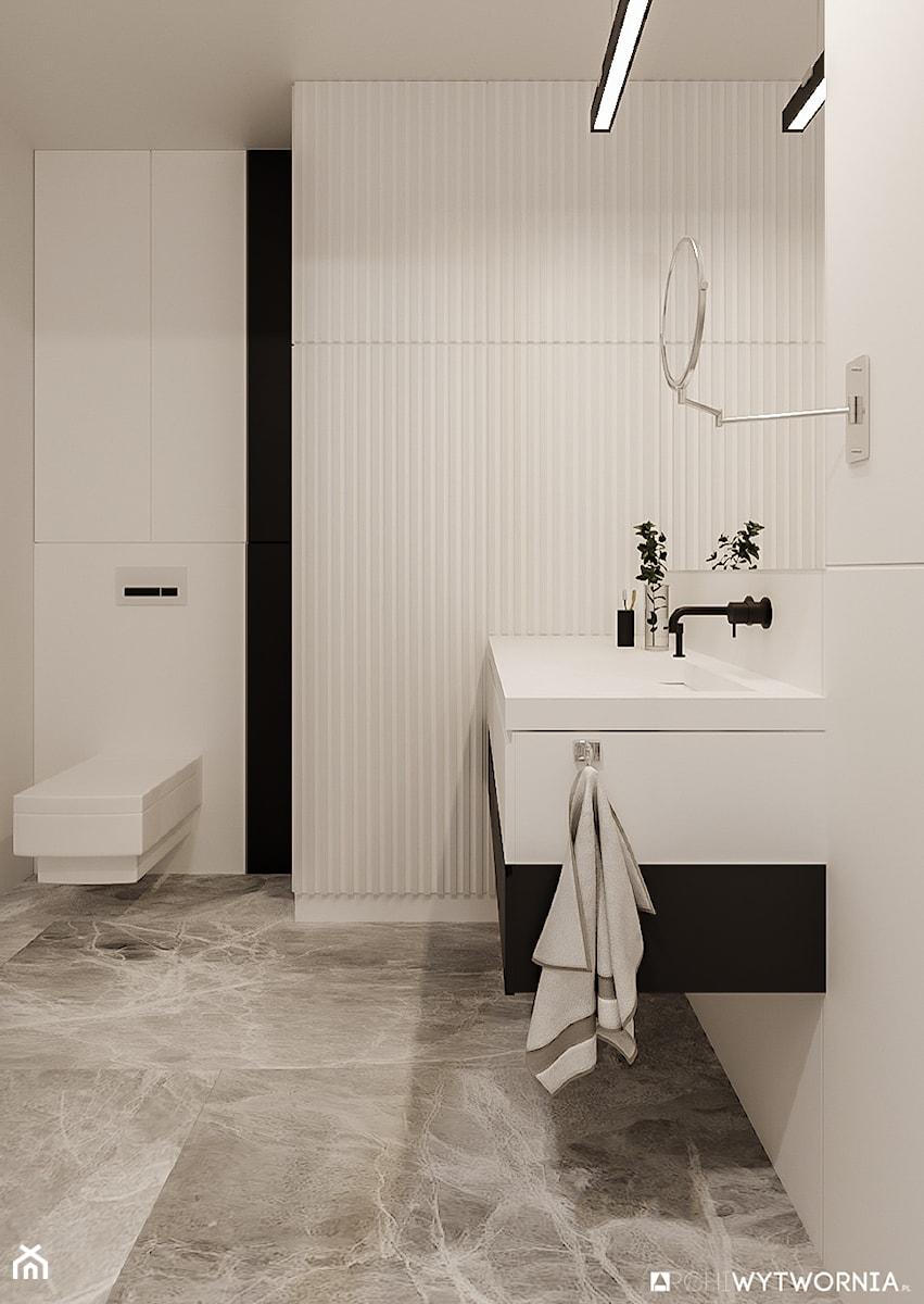 1 MAJA - Średnia czarna szara łazienka w bloku w domu jednorodzinnym bez okna, styl nowoczesny - zdjęcie od ARCHIWYTWÓRNIA Tomek Pytel