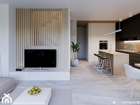 Aranżacje wnętrz - Salon: 1 MAJA - Średni biały salon z kuchnią z jadalnią, styl nowoczesny - ARCHIWYTWÓRNIA Tomek Pytel. Przeglądaj, dodawaj i zapisuj najlepsze zdjęcia, pomysły i inspiracje designerskie. W bazie mamy już prawie milion fotografii!