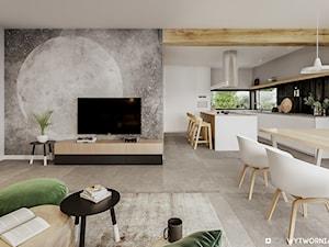 STARA HUTA - Średni szary salon z kuchnią z jadalnią, styl skandynawski - zdjęcie od ARCHIWYTWÓRNIA Tomek Pytel
