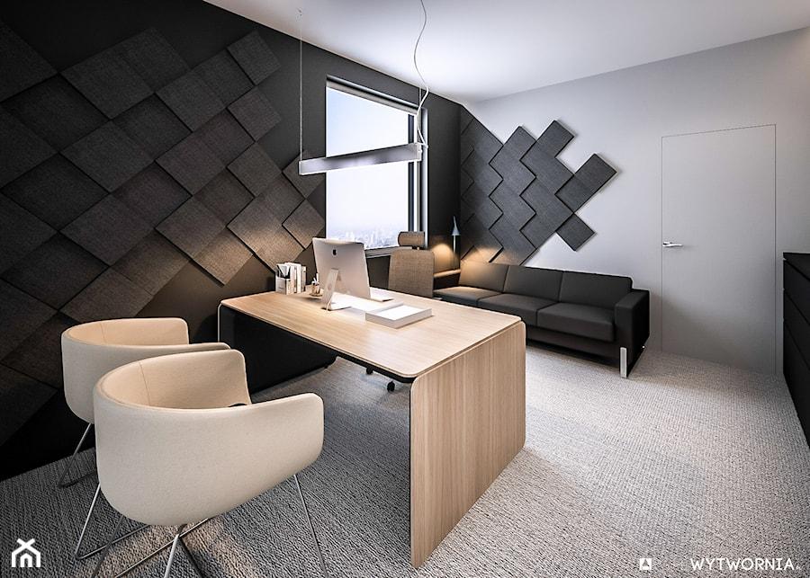 Aranżacje wnętrz - Biuro: STEO - Średnie czarne szare biuro domowe kącik do pracy w pokoju, styl nowoczesny - ARCHIWYTWÓRNIA Tomek Pytel. Przeglądaj, dodawaj i zapisuj najlepsze zdjęcia, pomysły i inspiracje designerskie. W bazie mamy już prawie milion fotografii!