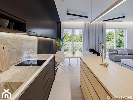 Aranżacje wnętrz - Kuchnia: 1 MAJA - Średnia otwarta szara kuchnia dwurzędowa w aneksie z oknem, styl nowoczesny - ARCHIWYTWÓRNIA Tomek Pytel. Przeglądaj, dodawaj i zapisuj najlepsze zdjęcia, pomysły i inspiracje designerskie. W bazie mamy już prawie milion fotografii!