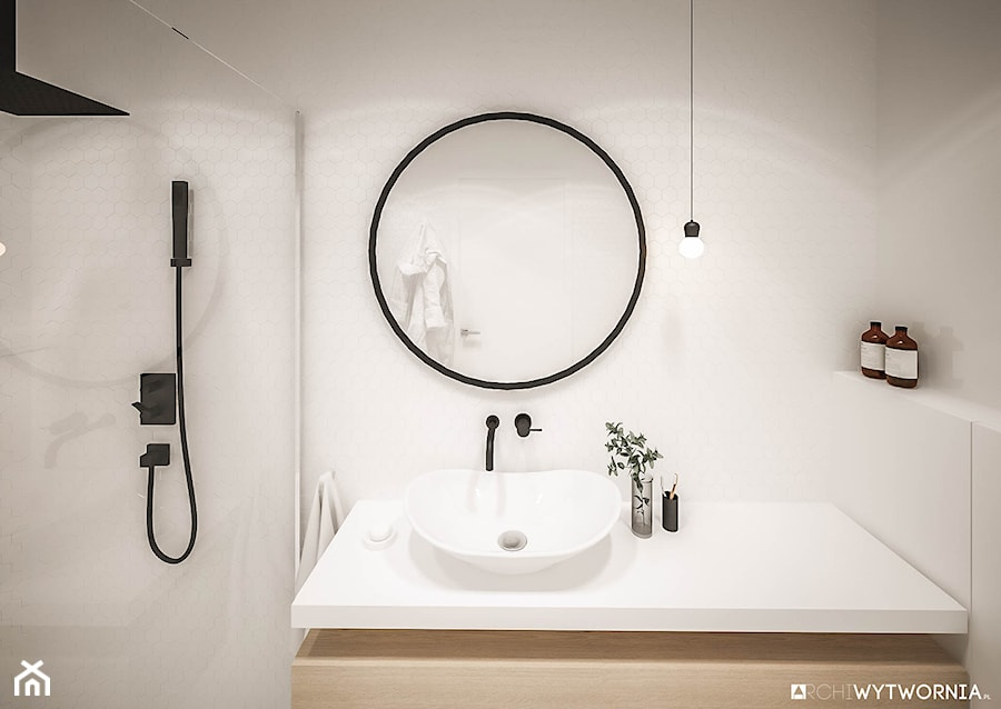 Minimalistyczna biała łazienka - zdjęcie od ARCHIWYTWÓRNIA Tomek Pytel