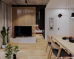 REJTANA - Biały czarny salon z jadalnią, styl nowoczesny - zdjęcie od ARCHIWYTWÓRNIA Tomek Pytel