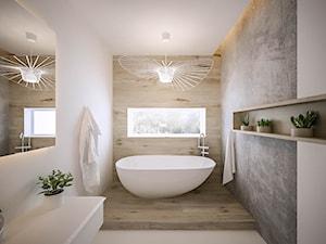 Akacjowa - Średnia biała szara łazienka w domu jednorodzinnym z oknem, styl nowoczesny - zdjęcie od ARCHIWYTWÓRNIA Tomek Pytel