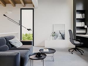 BOLONIA - Średnie czarne białe biuro domowe kącik do pracy w pokoju, styl nowoczesny - zdjęcie od ARCHIWYTWÓRNIA Tomek Pytel