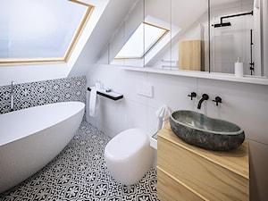 NA PUSTYNI BŁĘDOWSKIEJ - Średnia biała czarna łazienka na poddaszu w domu jednorodzinnym z oknem, styl skandynawski - zdjęcie od ARCHIWYTWÓRNIA Tomek Pytel