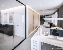 STEO - Duże białe biuro pracownia w pokoju, styl nowoczesny - zdjęcie od ARCHIWYTWÓRNIA Tomek Pytel