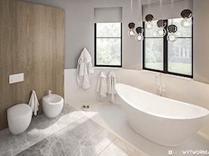 Lenartowicza - Średnia biała łazienka na poddaszu w bloku w domu jednorodzinnym z oknem, styl nowoczesny - zdjęcie od ARCHIWYTWÓRNIA Tomek Pytel