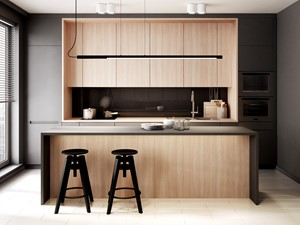 Mieszkanie Warszawa - Średnia otwarta czarna kuchnia dwurzędowa w aneksie z wyspą z oknem, styl minimalistyczny - zdjęcie od Mezzo Studio