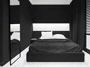 Mieszkanie Black&White - Mała biała czarna sypialnia dla gości małżeńska, styl minimalistyczny - zdjęcie od JT.ARCHITEKT
