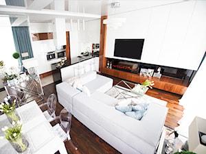 Średni biały salon z kuchnią z jadalnią, styl nowojorski - zdjęcie od Marta Iglewska Architektura Wnętrz