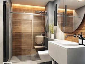PROJEKT WNĘTRZ - WOJ. ŚLĄSKIE - Średnia szara łazienka bez okna, styl nowoczesny - zdjęcie od AM BUTOR ARCHITEKCI