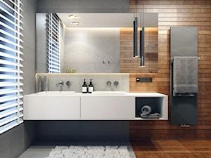 PROJEKT WNĘTRZ - WOJ. ŚLĄSKIE - Średnia szara łazienka z oknem, styl nowoczesny - zdjęcie od AM BUTOR ARCHITEKCI
