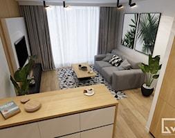 Salon / pokój dzienny z aneksem kuchennym - zdjęcie od AM BUTOR ARCHITEKCI