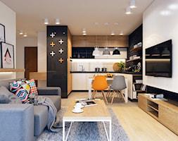 Kuchnia+z+salonem+w+stylu+nowoczesnym+z+elementami+stylu+skandynawskiego.+-+zdj%C4%99cie+od+AM+BUTOR+ARCHITEKCI