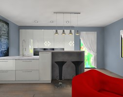 biała kuchnia z salonem - zdjęcie od Barbara Kaniewska - Homebook