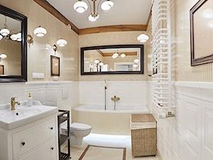 Średnia biała brązowa łazienka w bloku w domu jednorodzinnym bez okna, styl klasyczny - zdjęcie od http://martaczerkies.pl/
