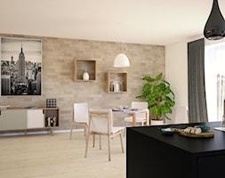 Kuchnia z Jadalnią - Mała otwarta biała beżowa jadalnia jako osobne pomieszczenie, styl nowoczesny - zdjęcie od 3d@piotrwachulec.pl - Homebook