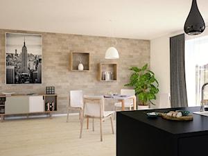 Kuchnia z Jadalnią - Mała otwarta biała beżowa jadalnia jako osobne pomieszczenie, styl nowoczesny - zdjęcie od 3d@piotrwachulec.pl