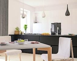Kuchnia z Jadalnią - Mała otwarta szara jadalnia w kuchni, styl nowoczesny - zdjęcie od 3d@piotrwachulec.pl - Homebook