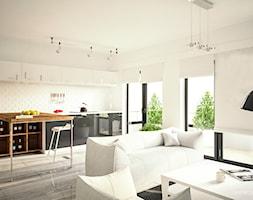 Salon i Kuchnia - Średni biały salon z jadalnią, styl nowoczesny - zdjęcie od 3d@piotrwachulec.pl - Homebook