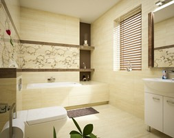 Wizualizacja Łazienki - Średnia szara łazienka w bloku w domu jednorodzinnym bez okna, styl tradycyjny - zdjęcie od 3d@piotrwachulec.pl - Homebook