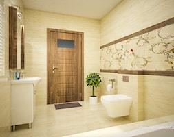 Średnia beżowa łazienka w bloku w domu jednorodzinnym bez okna, styl tradycyjny - zdjęcie od 3d@piotrwachulec.pl - Homebook