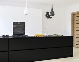 Kuchnia z Jadalnią - Duża otwarta biała kuchnia dwurzędowa, styl nowoczesny - zdjęcie od 3d@piotrwachulec.pl - Homebook