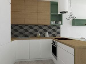 Mieszkanie WRO - Średnia otwarta biała szara czarna kuchnia w kształcie litery u w aneksie, styl skandynawski - zdjęcie od Patrycja Siewiera