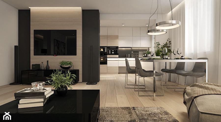 Mieszkanie- projekt kuchni i salonu - Duża otwarta biała jadalnia w salonie, styl nowoczesny - zdjęcie od UNIQUE INTERIOR DESIGN