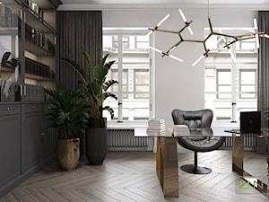 mieszkanie w Kamienicy - Duże białe biuro domowe w pokoju, styl glamour - zdjęcie od UNIQUE INTERIOR DESIGN