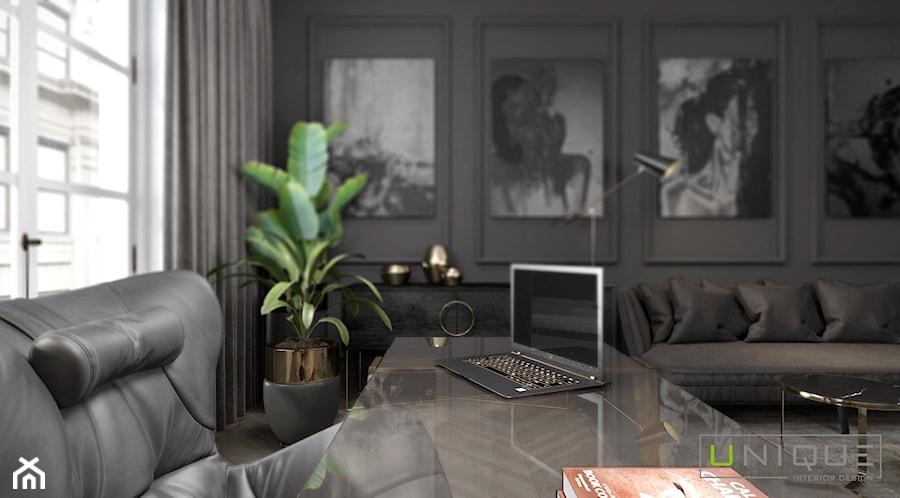 mieszkanie w Kamienicy - Duże czarne szare biuro domowe w pokoju, styl klasyczny - zdjęcie od UNIQUE INTERIOR DESIGN