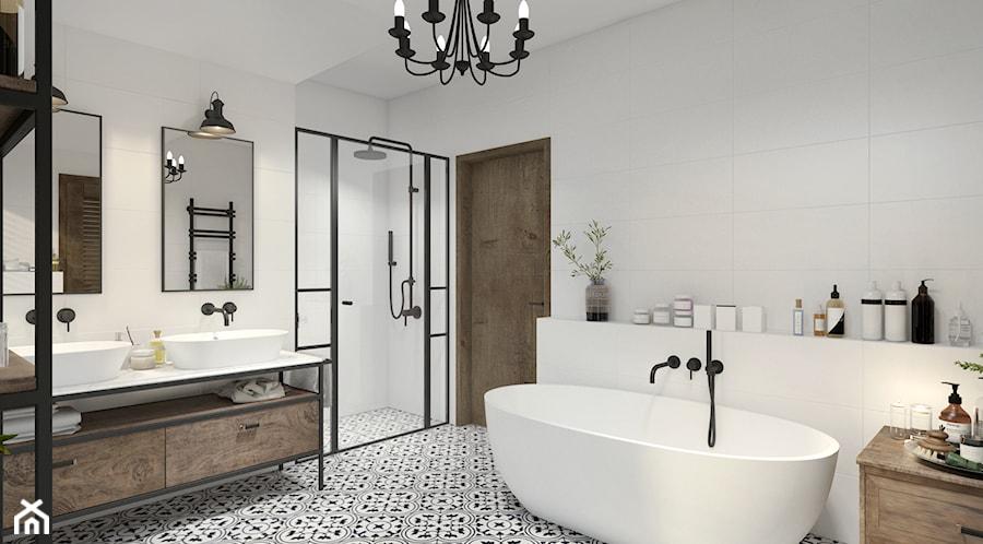 Dom z elementami stylu kolonialnego - Średnia biała łazienka bez okna, styl kolonialny - zdjęcie od UNIQUE INTERIOR DESIGN