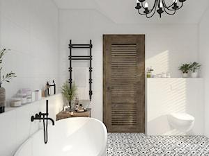 Dom z elementami stylu kolonialnego - Średnia biała łazienka w bloku w domu jednorodzinnym z oknem, styl kolonialny - zdjęcie od UNIQUE INTERIOR DESIGN