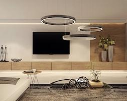 Apartament/ penthause - Średni biały salon, styl nowoczesny - zdjęcie od UNIQUE INTERIOR DESIGN