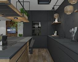 Przebudowa domu - Średnia otwarta czarna kuchnia w kształcie litery l z wyspą, styl industrialny - zdjęcie od UNIQUE INTERIOR DESIGN