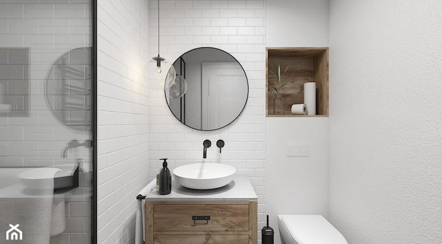 Mieszkanie w Warszawie - Mała biała łazienka na poddaszu w bloku w domu jednorodzinnym bez okna - zdjęcie od UNIQUE INTERIOR DESIGN