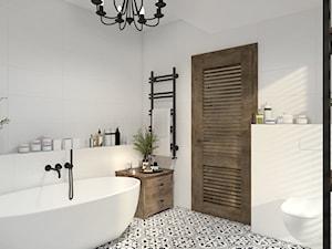 Dom z elementami stylu kolonialnego - Średnia biała łazienka z oknem, styl kolonialny - zdjęcie od UNIQUE INTERIOR DESIGN