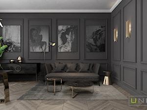 mieszkanie w Kamienicy - Duże szare biuro domowe w pokoju, styl art deco - zdjęcie od UNIQUE INTERIOR DESIGN