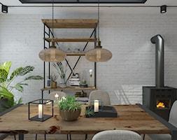 Przebudowa domu - Średnia otwarta biała jadalnia w salonie, styl industrialny - zdjęcie od UNIQUE INTERIOR DESIGN