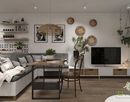 Mieszkanie - Średni szary biały salon z kuchnią z jadalnią, styl skandynawski - zdjęcie od UNIQUE INTERIOR DESIGN