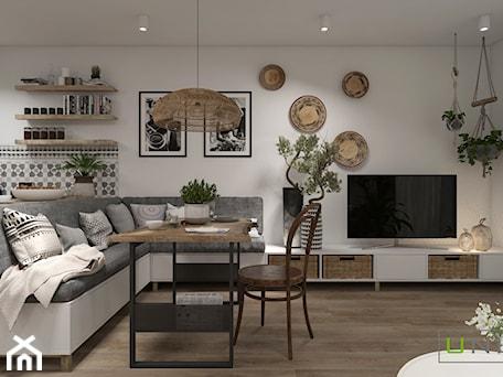 Aranżacje wnętrz - Salon: Mieszkanie z elementami w stylu BOHO - Średni szary biały salon z kuchnią z jadalnią, styl skandynawski - UNIQUE INTERIOR DESIGN. Przeglądaj, dodawaj i zapisuj najlepsze zdjęcia, pomysły i inspiracje designerskie. W bazie mamy już prawie milion fotografii!