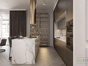 mieszkanie w Kamienicy - Średnia otwarta biała szara kuchnia dwurzędowa z oknem, styl art deco - zdjęcie od UNIQUE INTERIOR DESIGN