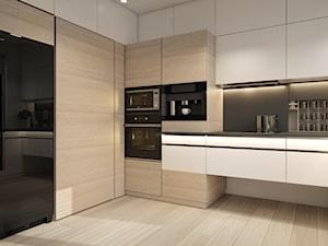 Mieszkanie- projekt kuchni i salonu - Duża szara czarna kuchnia w kształcie litery u w aneksie z oknem, styl nowoczesny - zdjęcie od UNIQUE INTERIOR DESIGN