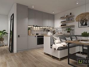 Mieszkanie z elementami w stylu BOHO - Mały średni biały salon z kuchnią, styl skandynawski - zdjęcie od UNIQUE INTERIOR DESIGN